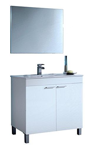 Mueble lavabo de baño o aseo con lavamanos de PMMA y espejo a juego con dos puertas color blanco brillo 80x80x45cm
