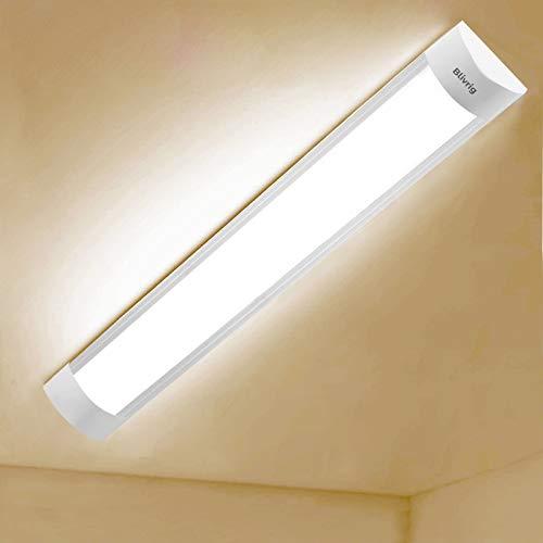 tubo led 30cm,LED Tubo Fluorescente 10W,Rinoye Luminaria Tubo LED Integrado 3000K Pantalla Led Cocina 4800LM Regleta Led Slim para Armarios, Cabinetes, Cocina y Oficina