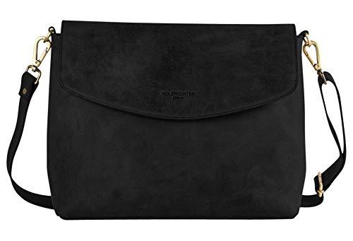 HOLZRICHTER Berlin Umhängetasche (L) - Elegante Handtasche & Schultertasche Aus Leder - A4 Größe - Schwarz-Anthrazit