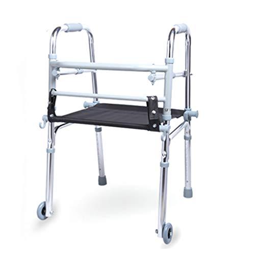 CHenXy Zusammenklappbarer Walker aus Aluminiumlegierung Leichtes Zusammenklappbares mobiles Gehgerät for Erwachsene und ältere Menschen mit Behinderung, Höhenverstellbarer, Rutschfester Fußpolst