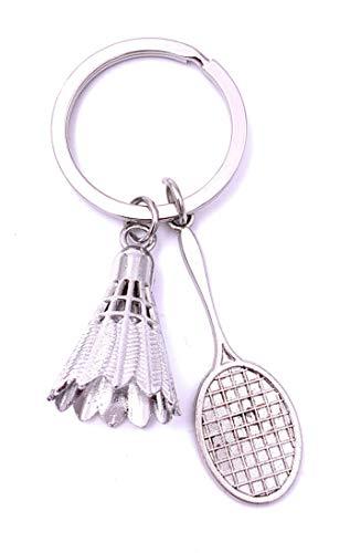 Onwomania Badminton Schläger mit Federball Schlüsselanhänger Keychain Silber Metall