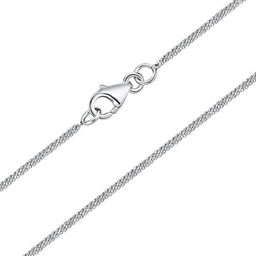 DTPsilver - Cadena de plata fina 925 con eslabones muy finos, cierre de mosquetón, grosor 1,2 mm, longitud 40, 45, 51, 55, 61 cm,