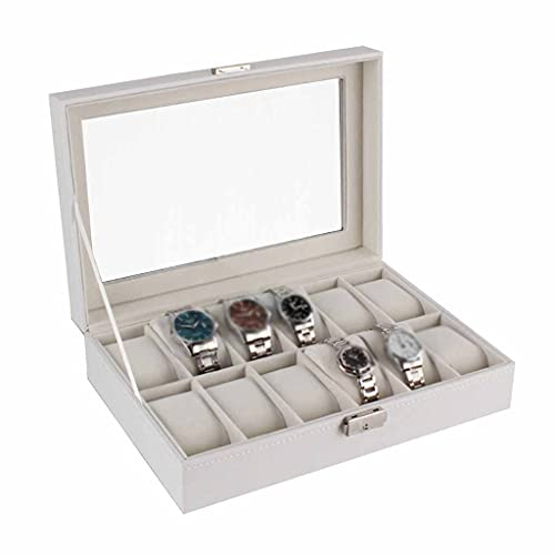 WYFDC Grandes regalos Durable organizador blanco caja de madera a prueba de polvo caja de reloj de almacenamiento hogar 12 ranuras pantalla
