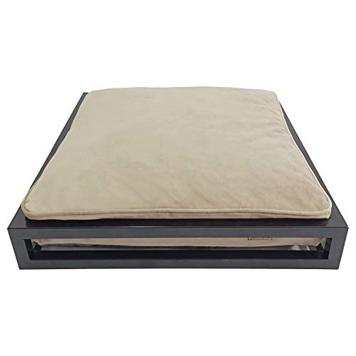 decorwelt Cama para perros y gatos de metal, sin montaje, para interiores y exteriores, 60 x 60 x 25 cm, marco de metal y cojín suave lavable en color beige