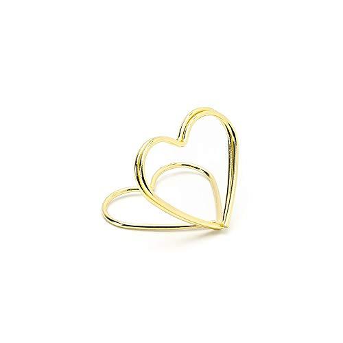 10 Kartenhalter gold, Metall,Tischkartenhalter in Herzform zur Hochzeit Goldene Hochzeit
