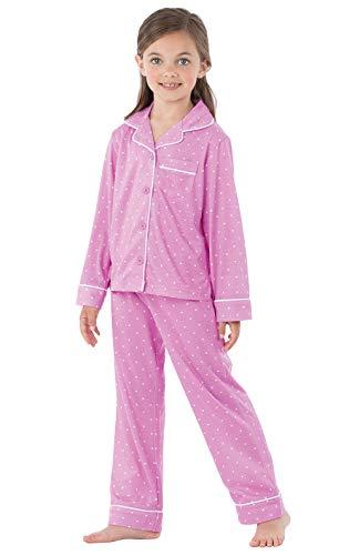 PajamaGram Big Girls' PJs Set - Polka Dot Girls Button Down Pajamas, Purple, 6