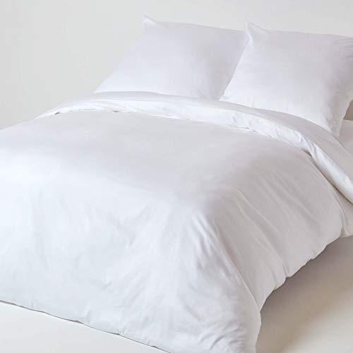 HOMESCAPES - Housse de Couette et taies d'oreiller Unis en Coton Bio 400 Fils, Coloris Blanc - 240 x 220 cm