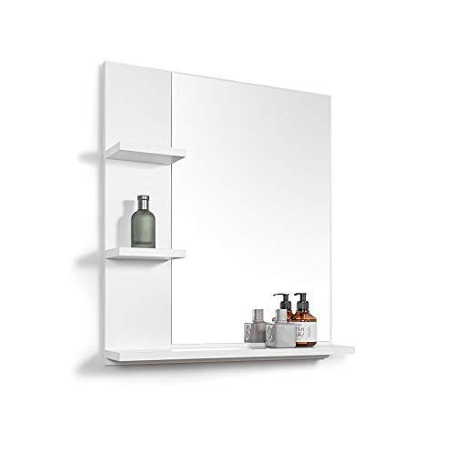 Domtech - Espejo de baño con estantes, color blanco