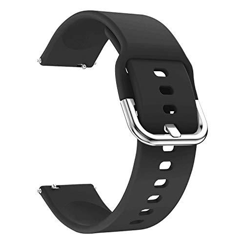 EWENYS Correa de repuesto para deportiva silicona suave de smartwatch, Compatibile con Samsung Galaxy Watch Gear S3 Classic / Huawei Watch GT 2 / Fossil Gen 5 / Amazfit GTR 2 (22mm, Negro)