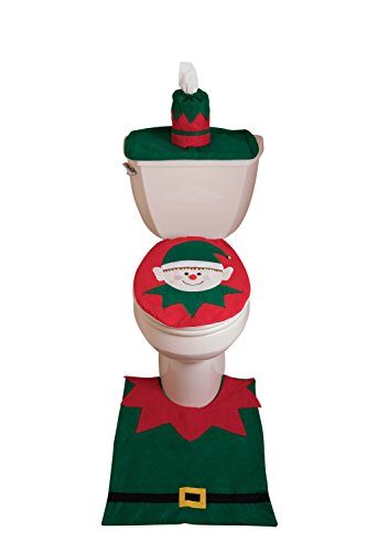 Set de baño - Cubiertas para tapa de retrete y para tanque, alfombrilla y funda para rollo de papel higiénico -...