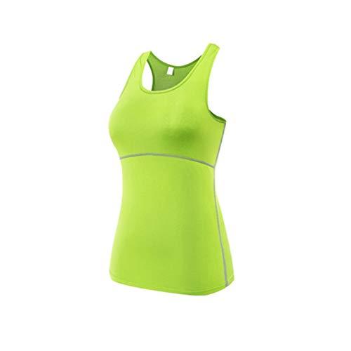 Gym Sports Yoga Vêtements Tops Gilet Femmes Sexy Gilet Fitness Running Tight Femme Chemise sans Manches À Séchage Rapide Débardeur Vert, M Uniquelove