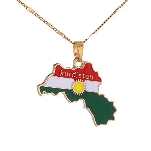 Kurdistan Halskette mit Landkartenanhänger, kurdisch, goldfarben, Koerdistan-Charm, Schmuck für Damen und Herren