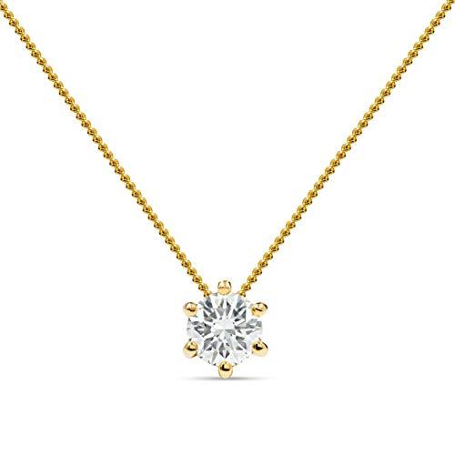 Miore Schmuck Damen 0.20 Ct Diamant Halskette mit Kettenanhänger Solitär Diamant Brillant Kette aus Gelbgold 14 Karat / 585 Gold