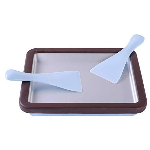 Hecho de polipropileno de grado alimenticio, placa de aluminio, y el refrigerante es una solución de sal marina y agua, por lo que es seguro para cualquier persona. Fácil de usar. Coloque la máquina para hacer helados boca abajo en el congelador para...