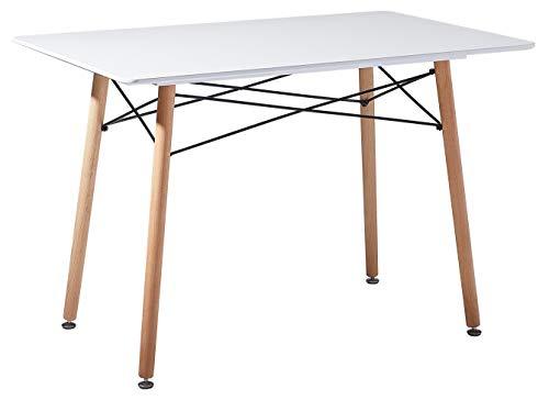 DORAFAIR Mesa de Comedor Rectangular,Estilo Escandinavo Mesa de Cocina y Patas de Madera de Haya,Blanco 110 * 70 * 73cm