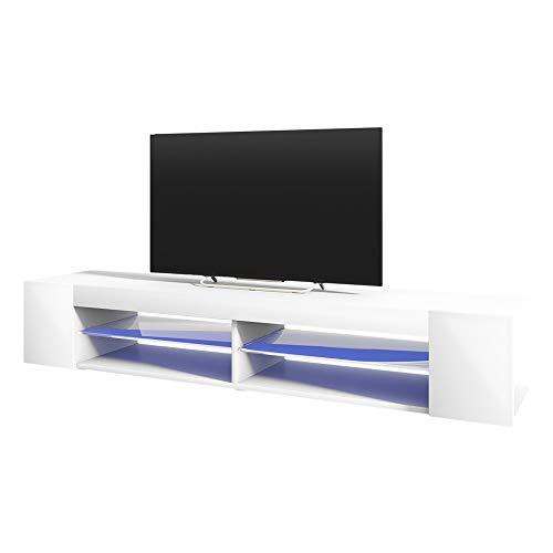 Selsey Mitchell - Mueble TV con LED/Mesa para TV/Mueble para Salón Comedor/Estilo Nórdico (180 cm, Blanco Mate/Blanco Brillante)