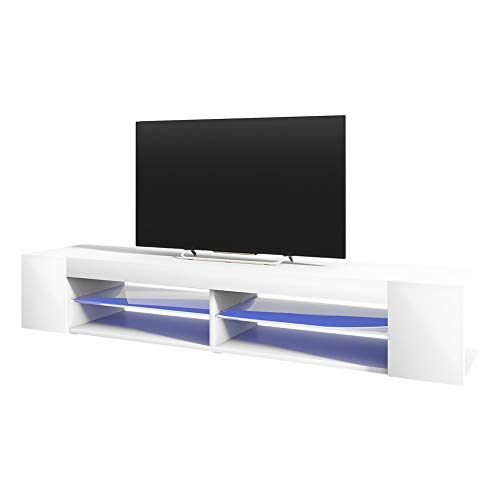 Selsey Mitchell - Meuble TV/Meuble de Salon (Blanc Mat/Blanc Brillant, 180 cm, avec LED)