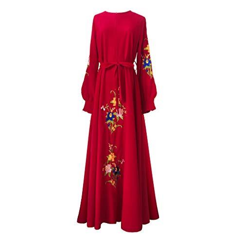Dasongff Dames casual avondjurk bruiloft Kaftan robe moslim lang maxi-jurk islamische kleding vintage lange mouwen Abaya Dubai feestjurken borduurwerk print gewand