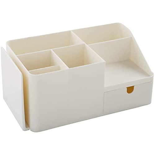 Tipo di cassetto in plastica desktop pulito, con cinque scomparti e un cassetto, adatto a casa, ufficio e scuola beige-Large