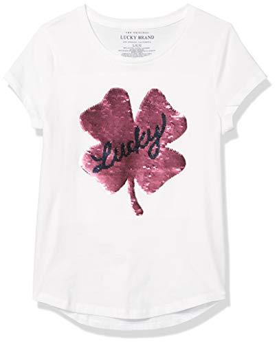 Lucky Brand Girls' Flippable Tee Shirt, Kate Sequin White, Medium (8/10)