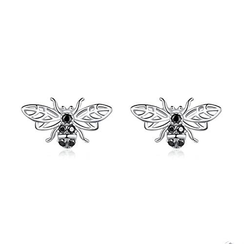 Aretes 925 Sterling Silver Stud Pendientes para Mujeres Retro Design Abejas Pines Punk Style Silver 925 Joyería de Moda Pendientes de Aro