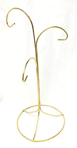 Home For ALL The Holidays 3 Arm Brass Finish Ornament Stand 12 Inches