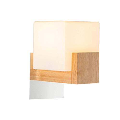 BANNAB Wood wall lamp, E27 European style modern stylish handmade glass lampshade Modern minimalist glass timber wall lamp