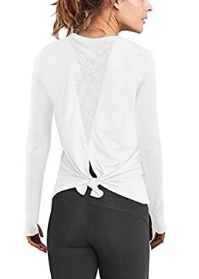 Mippo Long Sleeve Workout Shirts for Women Cute Open Back Yoga Clothes Summer Fashion for Women 2020 Activewear Mesh Tie Back Sports Athletic Thumbhole Shirt Fitness Active Tank Tops White M
