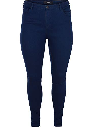 Zizzi Damen Amy Jeans Slim Fit Jeanshose Stretch Hose ,Blau,44 / 82 cm
