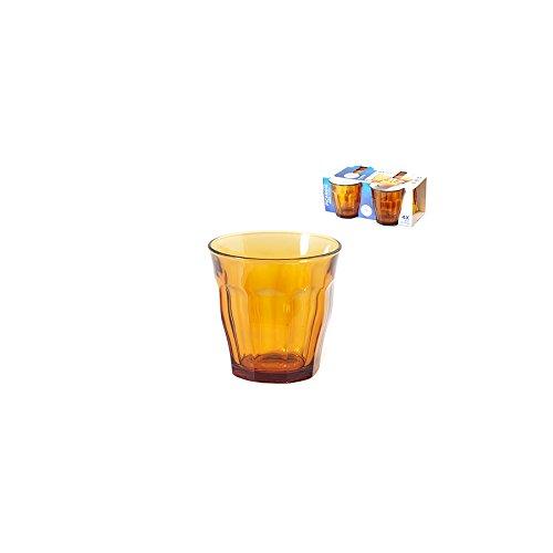 Duralex - 5152231- 4Vasos de Cristal Picardie, 31cl, Color ámbar