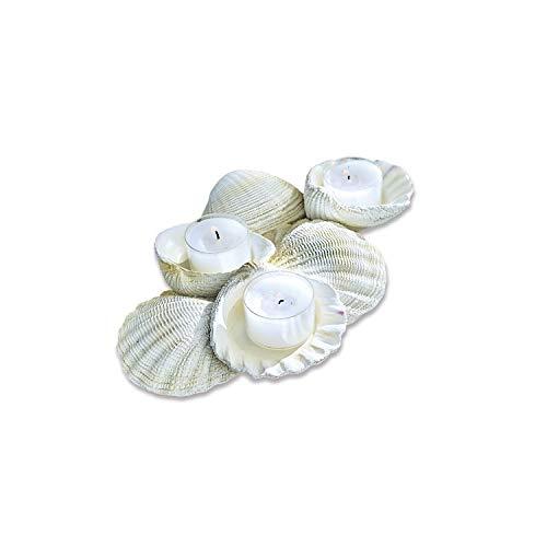 Loberon Kerzenhalter Tijana, Polyresin, H/B/T 4/24 / 14,5 cm, weiß