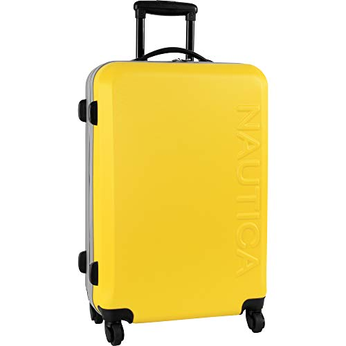 Nautica Ahoy Hardside Expandable 4-Wheeled Luggage-28 Inch Checked Size, Yellow/Silver