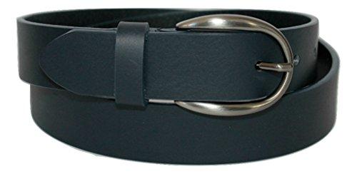 ITALOITALY Cintura in Vera Pelle Italiana, Alta 3cm, Donna, Colore Blu Scuro, Produzione Artigianale, Made in Italy, Accorciabile (Lunghezza totale cm 120)