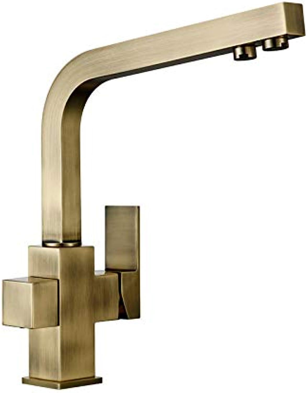 CZOOR Smesiteli Kitchen Faucets Brushed Antique Bronze 3 Way Tap Filter Faucets Dual Holder Kitchen Faucets 360 Degree redation Faucet