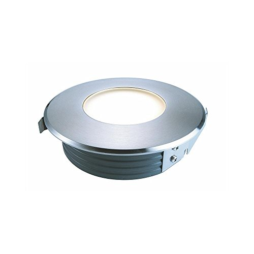 Spot extérieur encastrable de sol LED Flat, symétrique, AC 220–240 V/50–60 Hz, 1 W, acier inoxydable, 120 °, 3000 K EEK : A