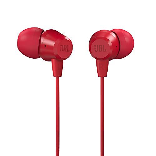 (Renewed) JBL C50HI in-Ear Headphones with Mic (Red)