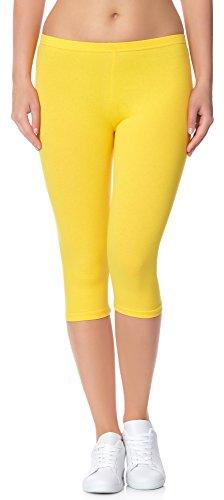 Ladeheid Damen Leggings aus Baumwolle 3/4 LAMA01 (Gelb7, XS/S) 34/36