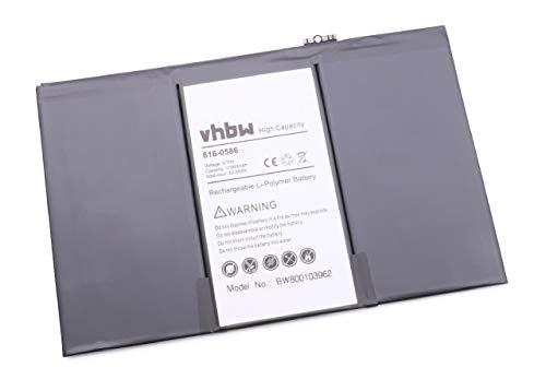 vhbw Batterie Li-Polymer 11500mAh (3,7 V) pour Apple iPad 3. Remplace Les Batteries: 616-0586, 616-0593, 616-0604, 969TA103H, 969TA110H, A138.