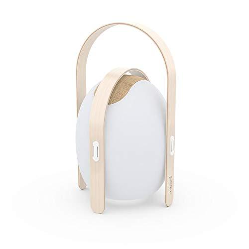 OVO-Lámpara de exterior recargable RGB con altavoz Bluetooth de madera y ABS 50 cm de altura, color blanco MOONI