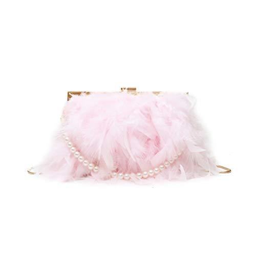 Fenical Abendtasche mit Perlenriemen Kette Clutch Bags Feder Umhängetasche für Frauen Mädchen Damen (pink)