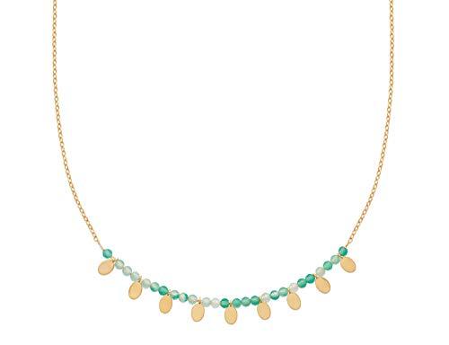 Tata Gisèle - Collana placcata oro 18 carati, pietre naturali calcedonia, pendenti, sacchetto di velluto in omaggio