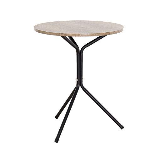 Petaon Round Top Beistelltisch Beistelltisch Sofa Seite Metallrahmen Einfach zusammenzustellen einem kostenlosen Mini-Schraubendreher für Wohnzimmer, Schlafzimmer, Küche, Rustikales Braun