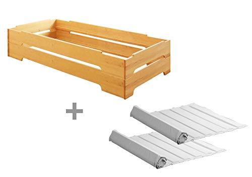 BioKinder 23614 Set van 2 Kai stapelbedden Stapelbedden met oprolbare lattenbodems van massief houten elzenhout 90 x 200 cm