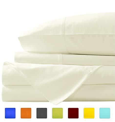 New York Mercado Super suave, elegante y de calidad premium, 100% algodón egipcio, fabricado en Estados Unidos con acabado italiano 600 TC, juego de sábanas de 4 piezas con bolsillo profundo de 53 cm (Queen, Marfil)