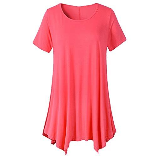Camiseta de Mujer Tops de Manga Corta Camiseta de Cuello Redondo de Color sólido Dobladillo Largo Blusa básica Túnica Informal Camisas Sudadera de Manga Larga de Camisetas de Verano de Manga Corta
