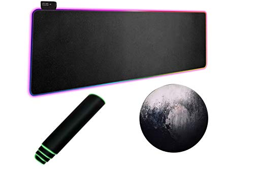 RGB Gaming Mouse Pads, LED Soft Extra Extended Large Mouse Pad with 14 Lighting Modes, Non-Slip Rubber Base, Computer Keyboard Mouse Mat 800 x 300mm / 31.5x11.8 inches (Black)