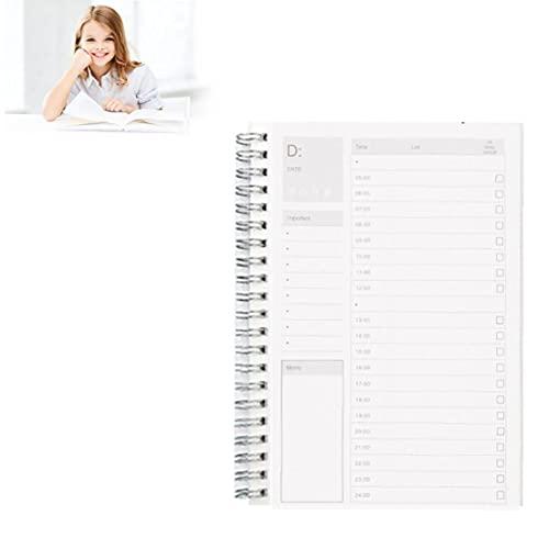 sevenjuly Planificador Diario con Manual de Eficiencia Cuadrícula de Tiempo para el Trabajo Saludable Planificador Timebook Notepad Records Vida Normal, divisores Asunto