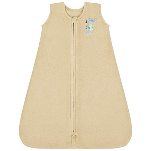 TILLYOU All Season Micro-Fleece Baby Sleep Bag and Sack with Inverted Zipper, Unisex Clothes for Toddlers Age 18-24 Months, Sleeveless Warm Soft Wearable Blanket TOG 1, X-Large XL, Khaki Crocodile