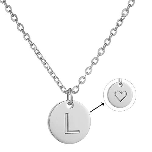 AFSTALR Damen Kette L Silber Initiale Buchstabenkette mit Herzen Geburtstag Namenskette Geschenk für Mädchen