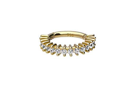 PIERCINGLINE 750er Gold Segmentring Clicker | EINGEFASSTE KRISTALLE | 18 KARAT | Piercing Ring Ohr Helix Nase Septum | Farb & Größenauswahl